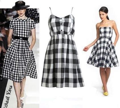 Черно-белая клетка платье